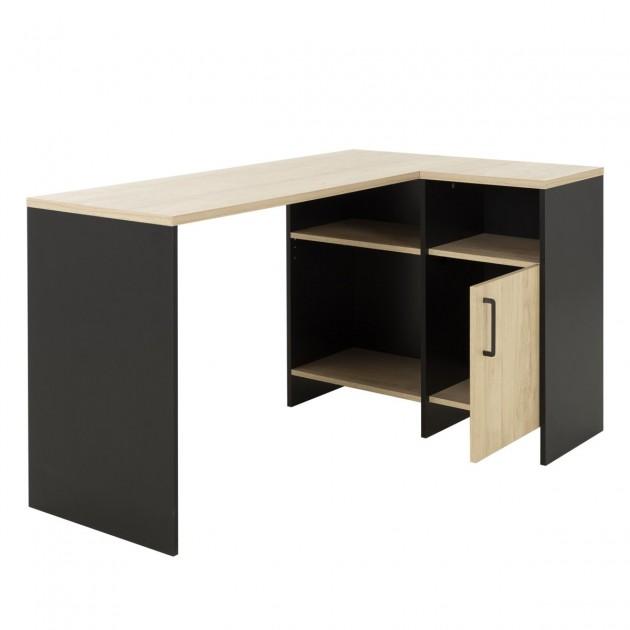 bureau d angle industriel en mix noir et bois clair liverpool fabrication francaise