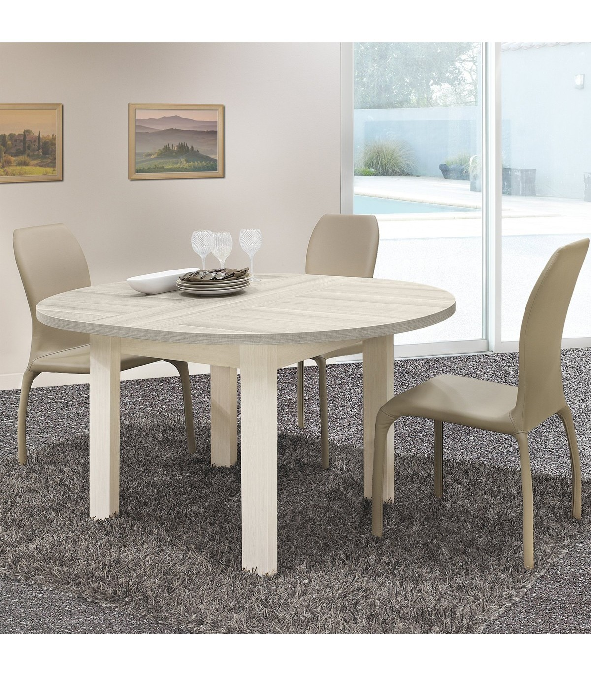 table a manger ronde avec allonge incluse fabrication francaise