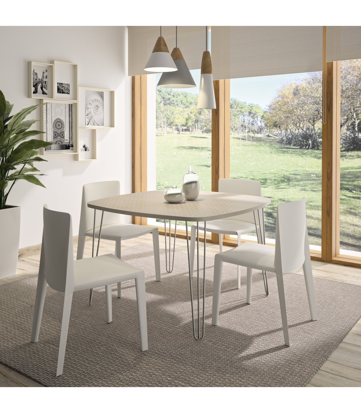 table a manger carree pieds filaires