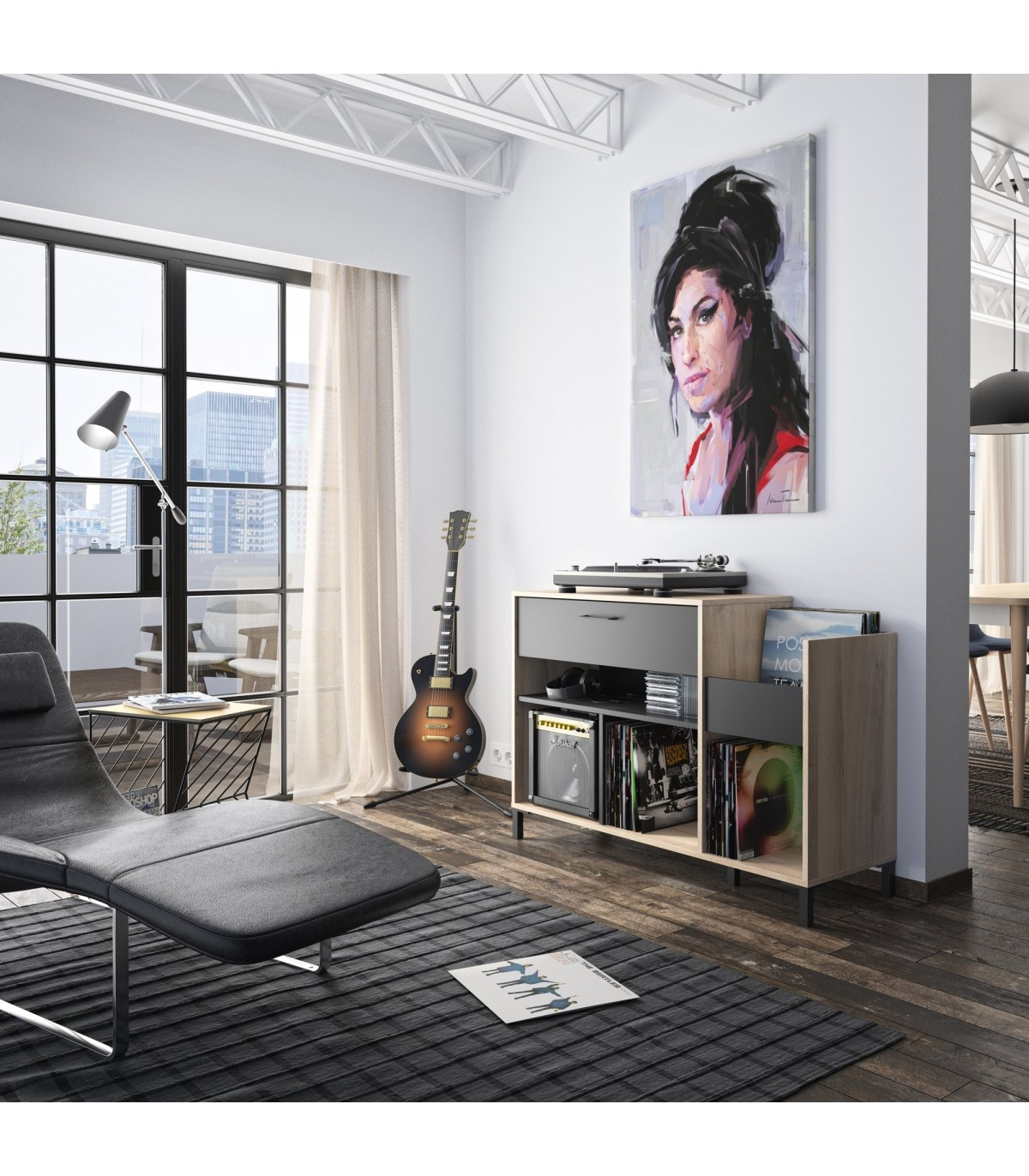 meuble rangement vinyles chicago