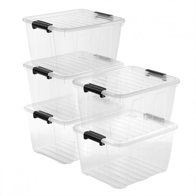 lot de 5 boites de rangement 30l plastique transparent