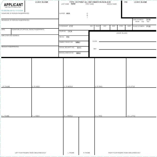 standard fingerprint form fd-258