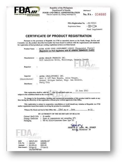 Certificate of Product Registration - California Apostille