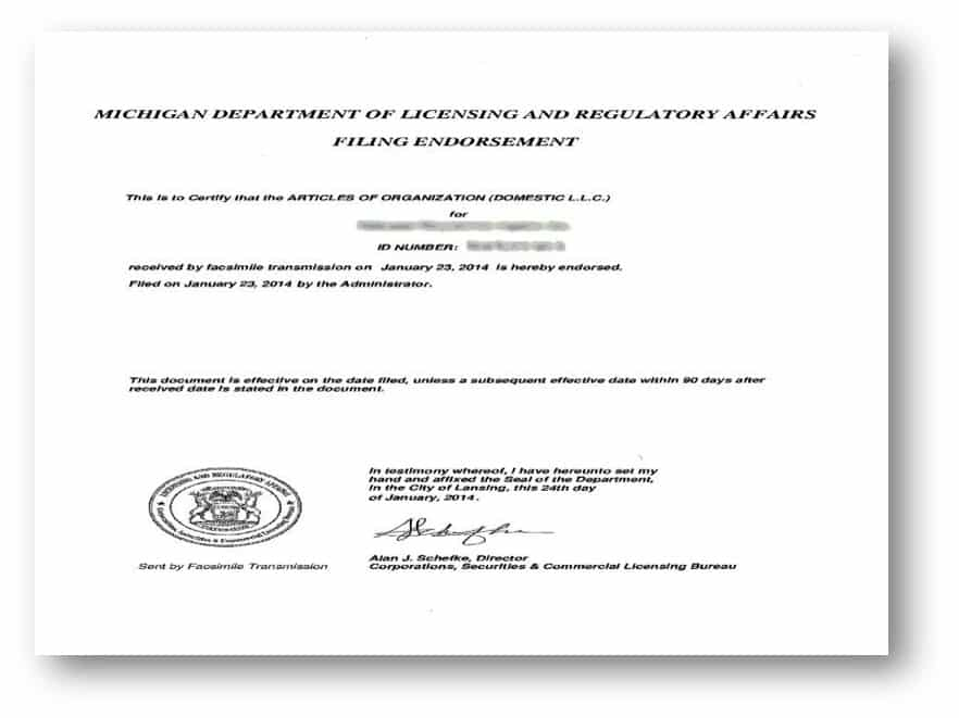 Certificate Of Registration Michigan California Apostille