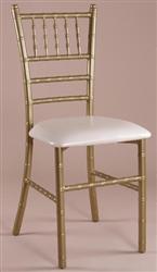 Gold Metal Chiavai Chair, Metal Tiffany Chairs, Mahogany