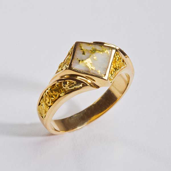 Gold Quartz Nuggets Ring
