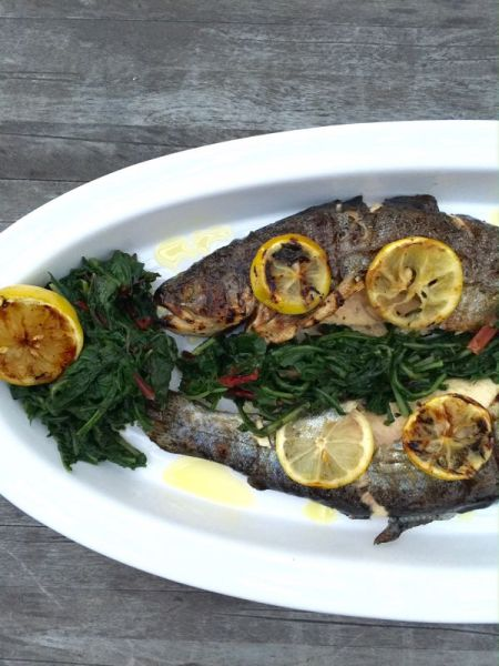 Grilled Fish with Greens