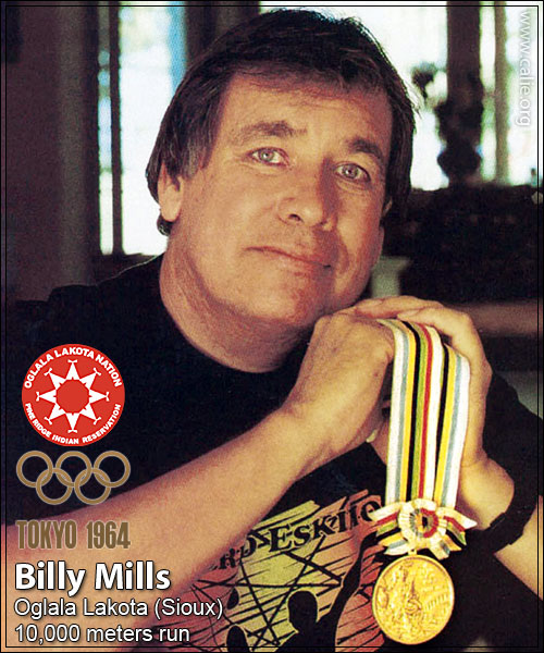 BILLY MILLS NATIVE AMERICAN INDIAN Olympic Gold Medal WInner Tokyo Olympics 1964 Oglala