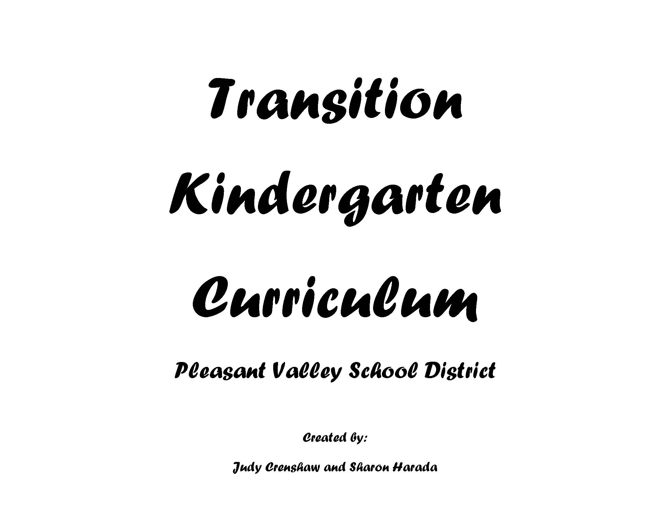 Transitional Kindergarten Curriculum Guide & Standards