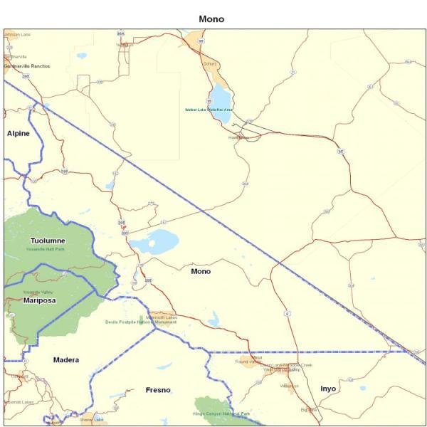 Mono County CA California Maps Map of California