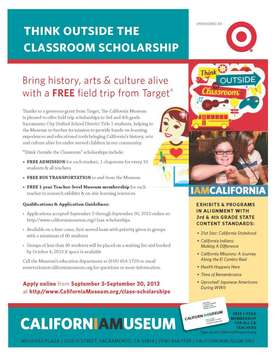 medium resolution of Think Outside the Classroom Scholarships - California Museum