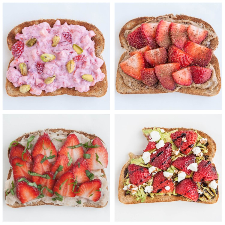 healthy snack ideas for work, Strawberry Toast 4 ways