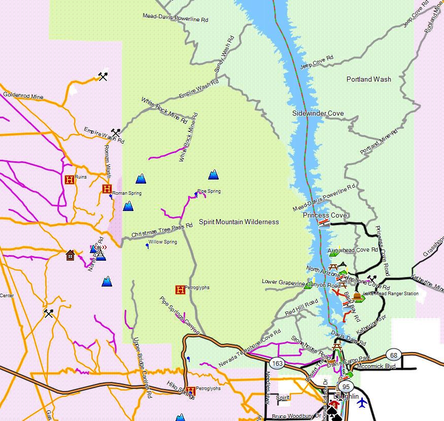 Lake Mead NRA Lake Mohave  California Trail Map