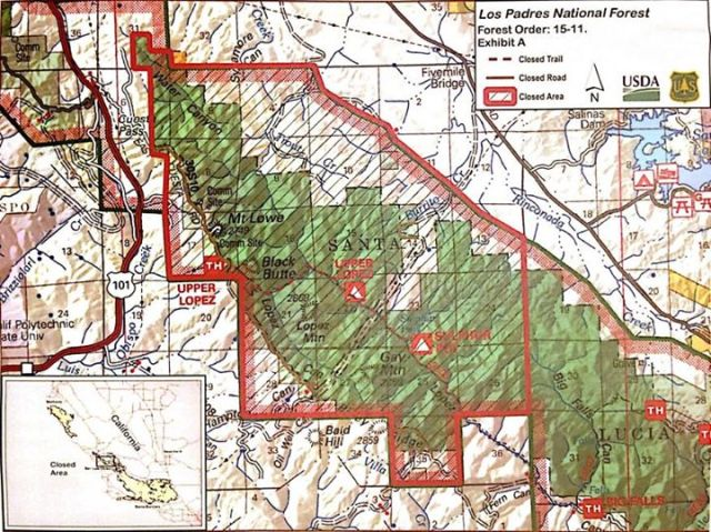 FO 15-11 Cuesta Fire Closure Order map