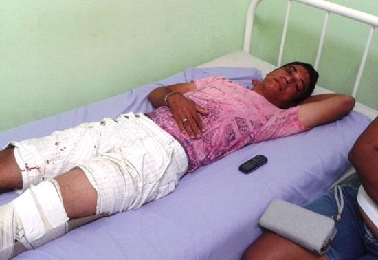 Luiz Eduardo caiu no banco do carona do carro depois de quebrar o para-brisa