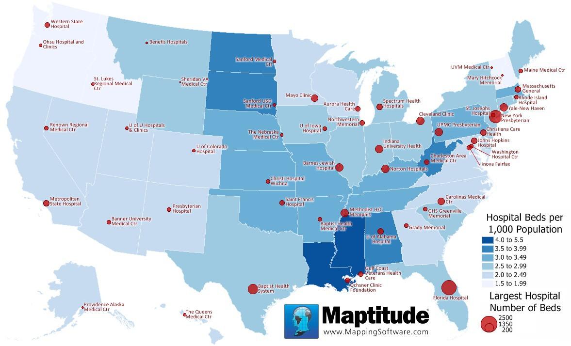 Maptitude Map Hospital Beds Capita Oct 2016