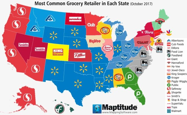 Maptitude Map Most Common U S Grocery Chain By State
