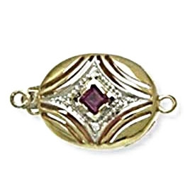 14kt yellow gold ruby and diamond clasp for pearls