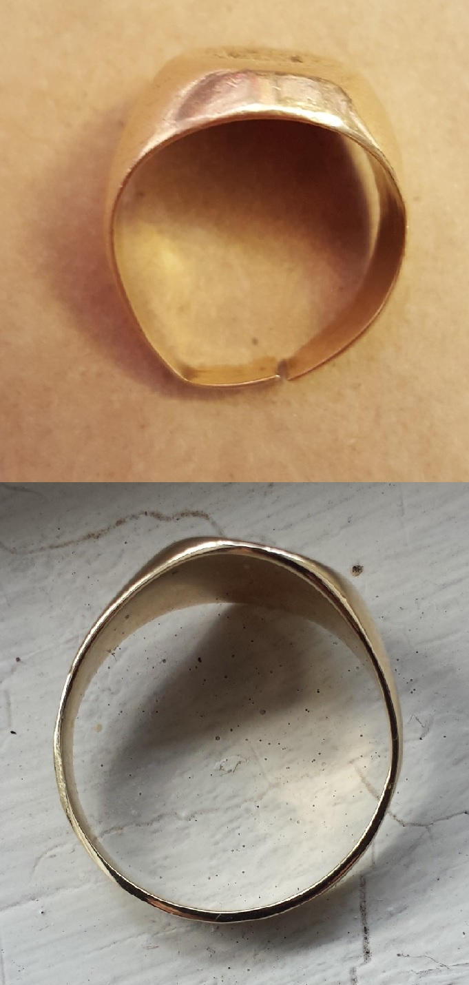 Re-shanking of signet ring