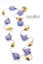 Chalcedony and Sapphire Bead with Gold Necklace