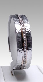 Hammer Finish Cuff Bangle with Diamonds
