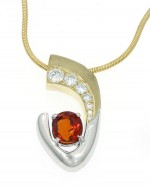 Orange Sapphire and Diamond Necklace with matte finish