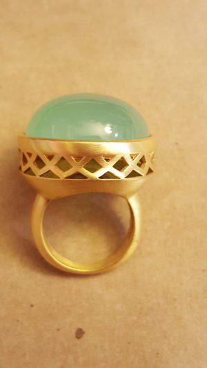 Green apple jade ring bezel set in yellow gold