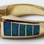 Inlaid Opal and Diamond Ring