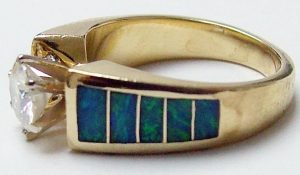 Inlay Opal Ring with Diamond with Broken Opal