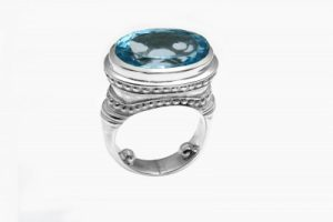 Sterling Silver Ring with Oval Blue Topaz