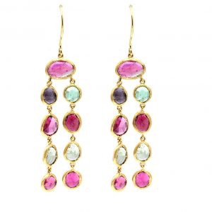 Pink and Green Translucent bezel set yellow gold Tourmaline Earrings