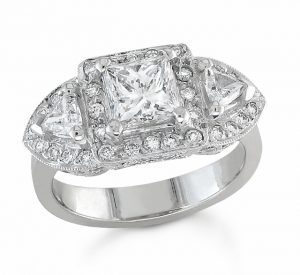 Calla Gold Jewelry Princess Diamond Engagement Ring in Platinum