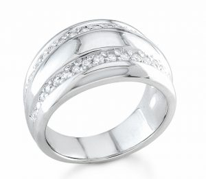 White gold wedding band with two rows of recessed diamonds