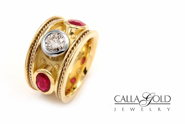 Ruby and Diamond Etruscan Ring