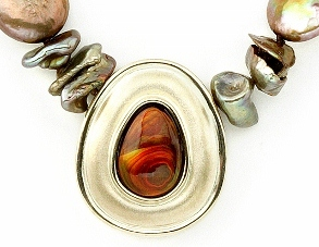 Pendant Bezel Set with Fire Agate in Yellow Gold