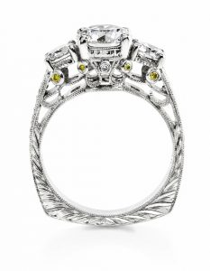 Platinum Hand Engraved Three Diamond Engagement Ring