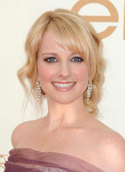 Champagne Diamond Dangly Earrings on Melissa Rauch