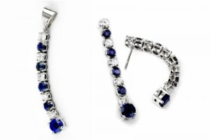 Alternating sapphire and diamond earrings