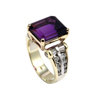 amethyst two tone ring with baguette diamonds