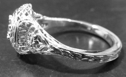 Restored Hand Engraving on Antique Engagement Ring