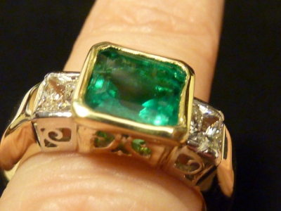 Bezel Set Emerald and Diamond Ring