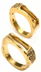 two broken gold rings needing Inlay Ring Repair