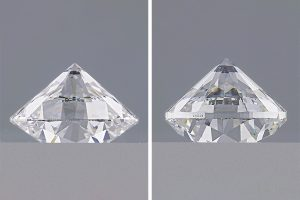 Comparative diamonds with good and bad cut