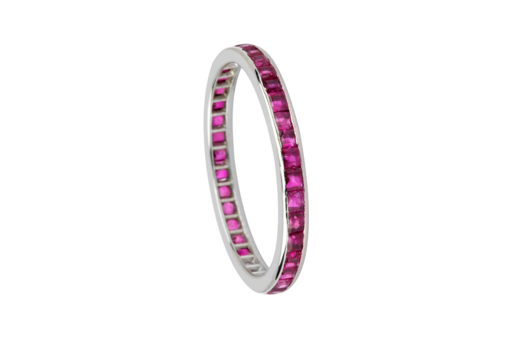 Eternity band with rubies.