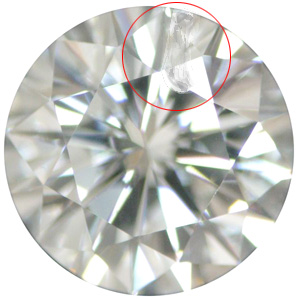Fissure Inclusion on Round Brilliant Diamond under Magnification