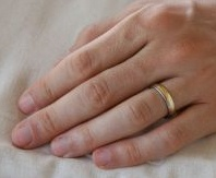 Wedding Band on Man's Hand