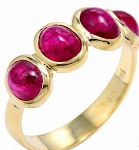 Ruby unfaceted ring