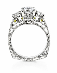 Three diamond ring with filigree side view