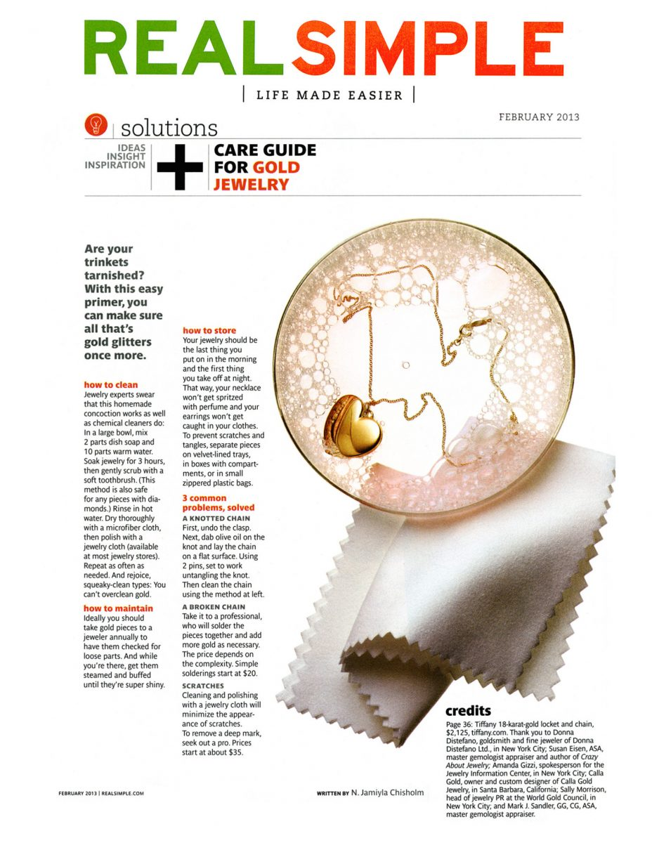 Calla Gold quoted in Real Simple Magazine in gold jewelry cleaning article