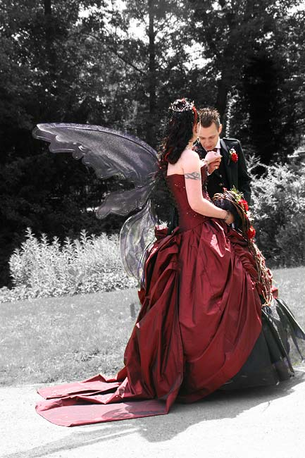 Romance, wedding and gothic style, couple